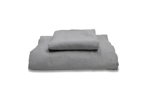 Folded Light Grey Linen Childrens Duvet Set