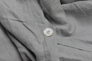 Light Grey Linen Duvet Cover with Pearl Button Closure