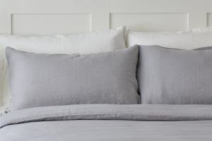 Light Tumbled Dove Grey Linen Pillow with White Linen Pillowcases