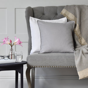Dove Grey Linen Cushion On A Grey Sofa