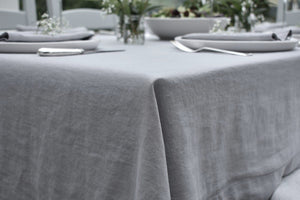 Corner of a Tablecloth in Natural Linen in Light Dove Grey
