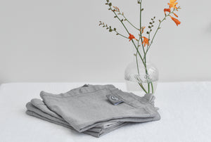 Grey Linen Napkin With Orange Flower