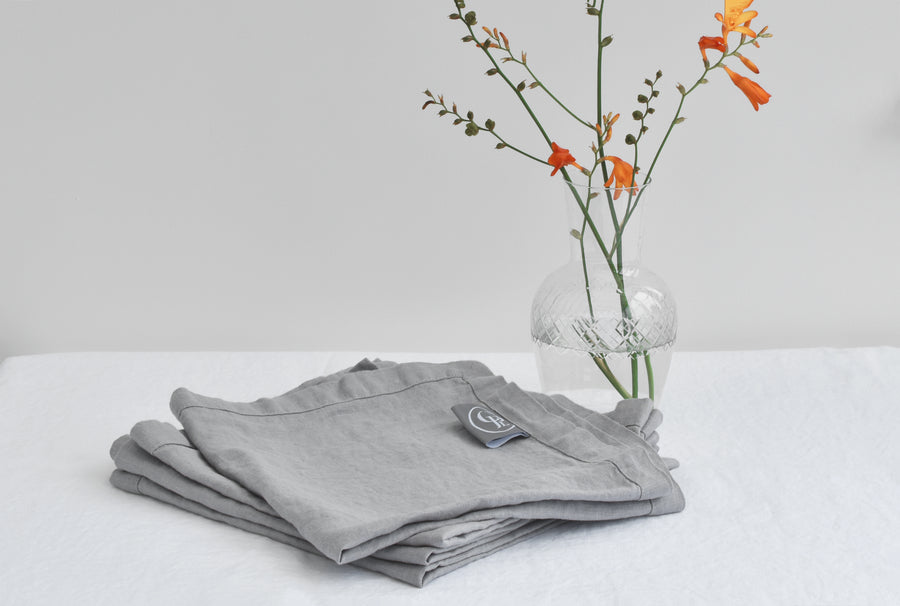 Light Grey Linen Napkin with Coffee and Waffles