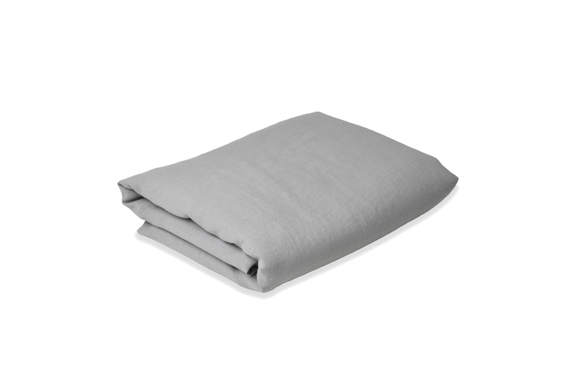 Light Grey French Linen Flat Sheet with Grey Flax Duvet Cover UK