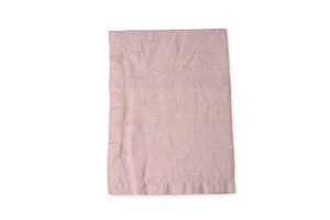 Flat Lay of Blush Pink Linen Tablecloth