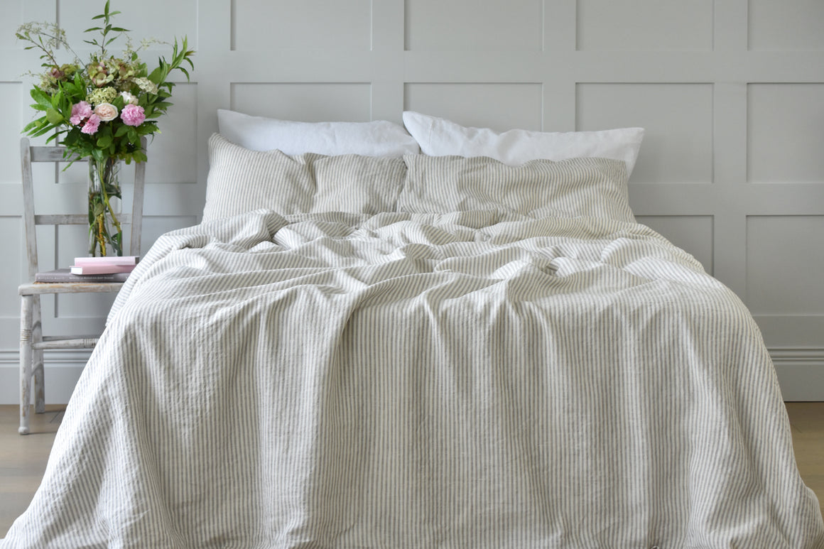 Natural Ticking Duvet Set with White Pillowcases