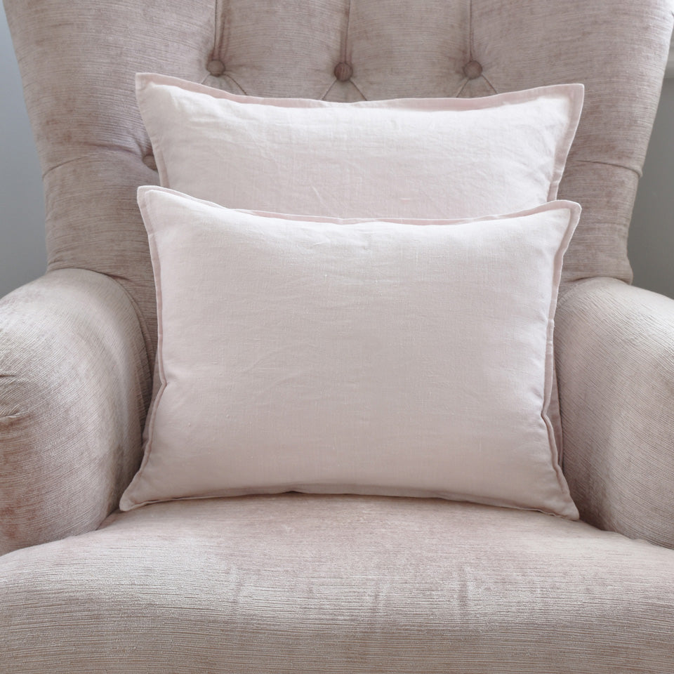 Small Pink French Linen Cushion