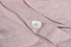 Pink Linen Duvet with a Pearl Button closure