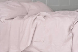 Pure Linen Flat Sheet in Blush Pink
