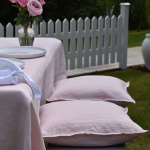 Blush Pink Linen Cushions on a Garden Bench