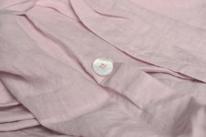 Chalk Pink Linen Duvet with Pearl Button Closure