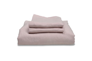 Folded Chalk Pink Linen Bedding Set UK