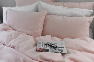 White Linen Pillows on a Pink Natural Linen King Duvet Cover Set
