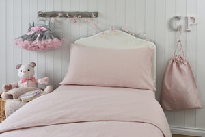 Childrens Single Bed with Pink Linen Quilt Cover