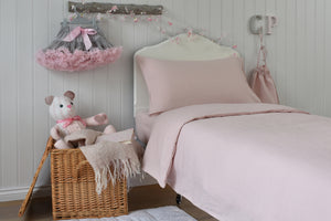 Kids Pink Bedding with Teddy, Toy Basket and Linen Bag