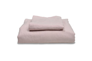 Folded Chalk Pink Flax Linen Single Bed Set