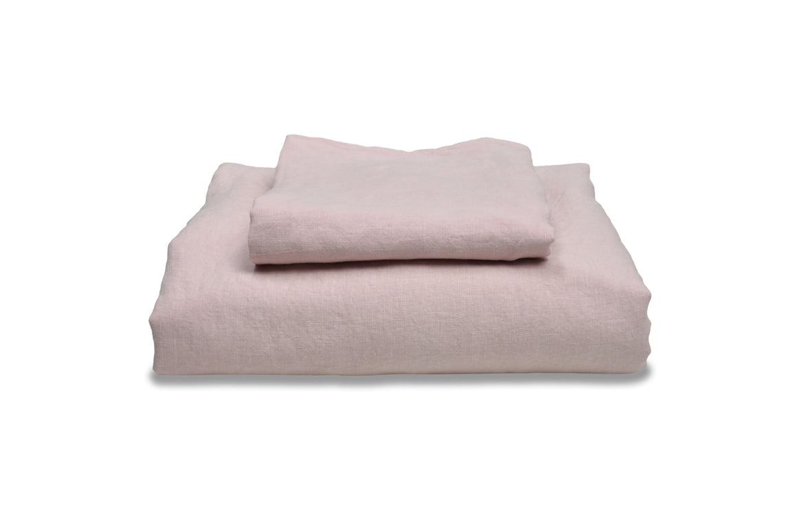 Chalk Pink Linen Duvet Cover with Pillowcases included