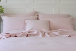 Chalk Pink Linen Pillowcases with Blush Pink Cushion