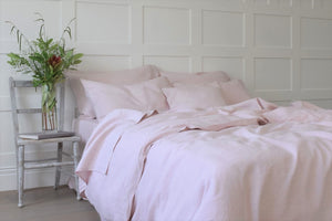 Pink Linen Double Duvet Cover UK and White Chair