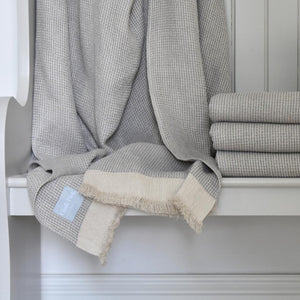 Blue Linen Throw on a Bench