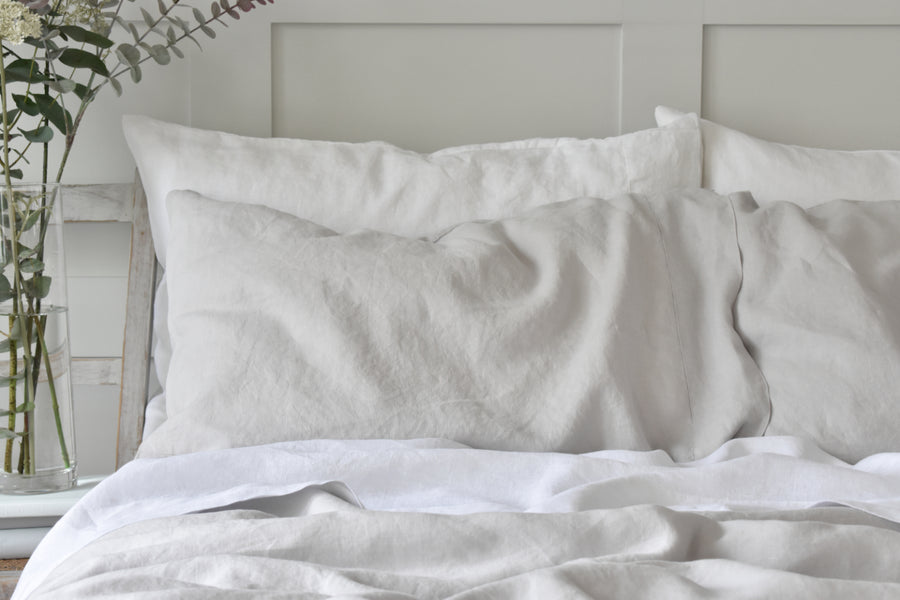 Silver Grey Linen Pillowcase Product Shot
