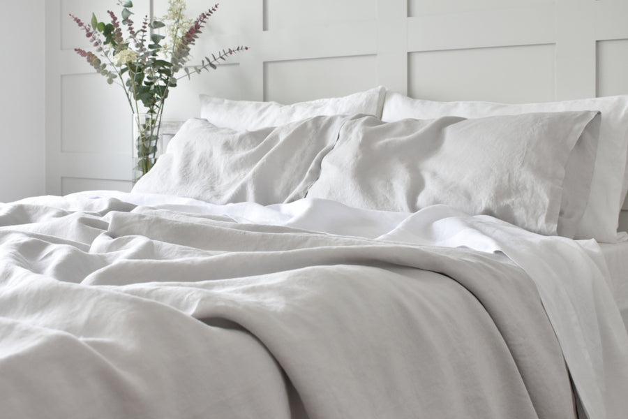 Light Grey Linen Duvet Folded with Pillowcases