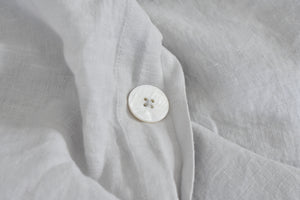 Sea Mist Grey Linen with Pearl Button
