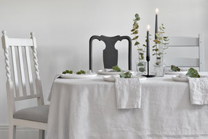 Light Grey Linen Tablecloth on a dining table with candles
