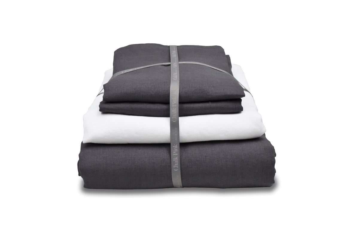 Dark Grey Linen Duvet set with white sheet