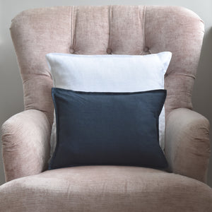 Small Linen Navy Cushion On a Chair