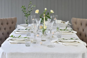 White Linen Tablecloth with chairs
