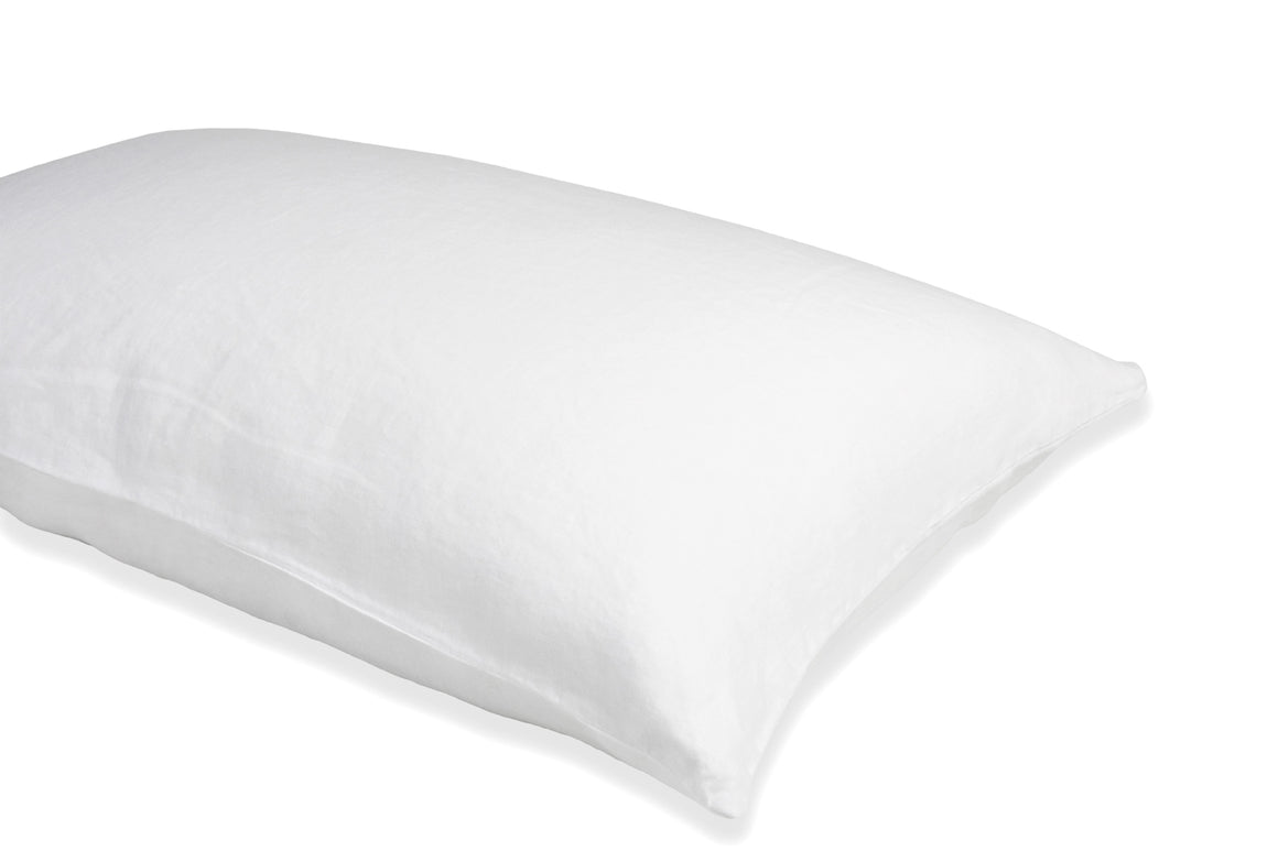 Pure White Linen Pillowcase on a Bed