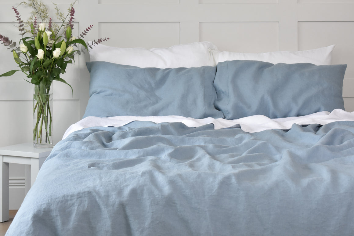 French Blue  Linen Duvet Cover and Pillowcases