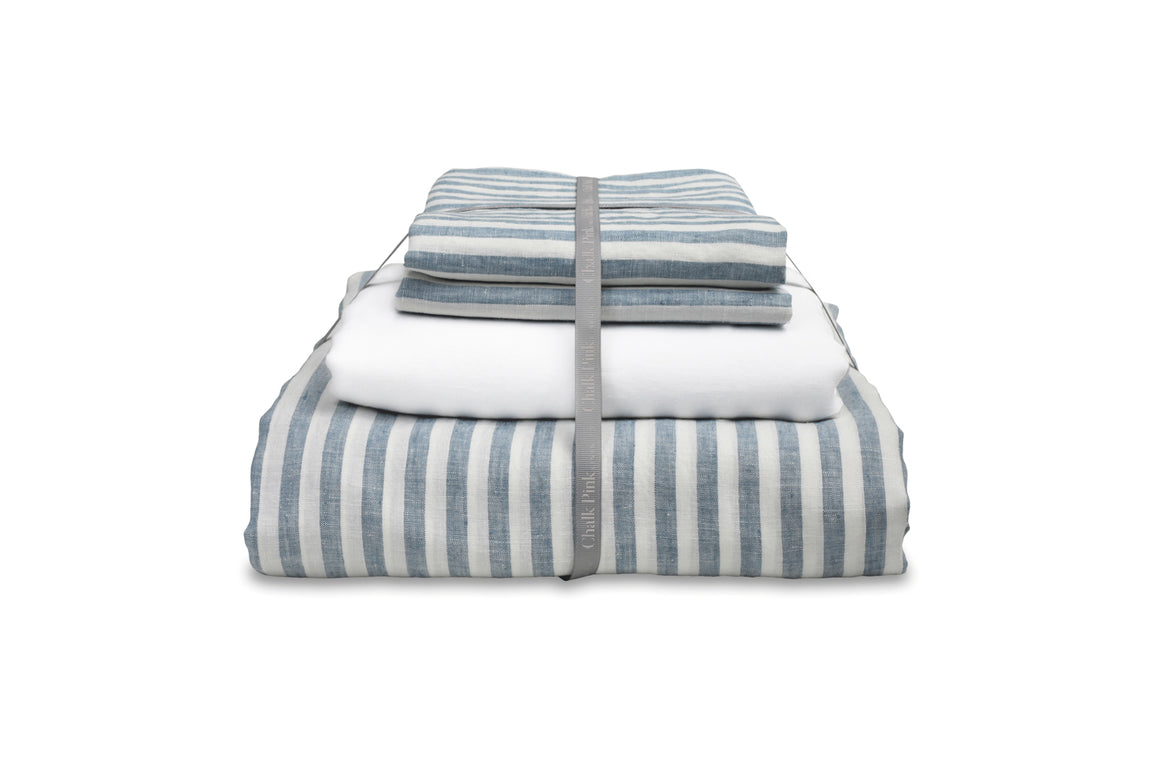 Blue Ticking stripe Linen Duvet Cover with White Linen Sheet