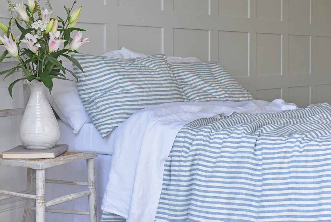 Blue Ticking Duvet Cover and Pillowcases