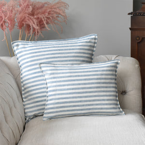 Small Blue and White Striped Linen Cushion Cover On A Sofa