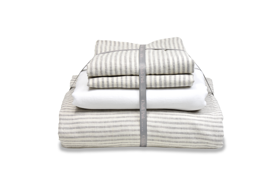 Ticking Linen Duvet Cover that is Folded with Ribbon