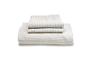 Ticking Linen Striped Duvet Cover and Pillowcase Folded on a stack