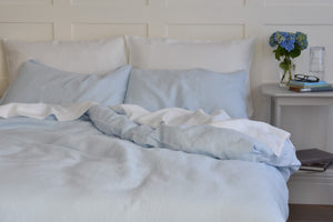 Double Bed with Light Whisper Blue Linen Bedding UK