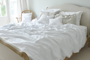 Super King Bed with Natural Linen Bedding in White with Ticking Pillowcase