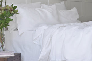 White Linen Bed Sheet UK