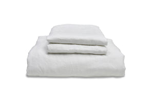 Folded White Flax Linen Double Duvet Cover Set