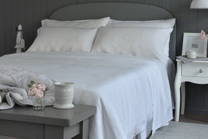 White 100% Pure Linen Flat Sheet