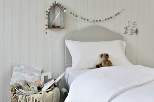 Flax Linen Kids White Bedding UK with Teddy and Toys