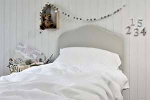 White Natural Linen Childrens Bed in Kids Bedroom
