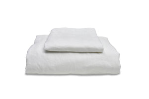 Folded White Linen Single Duvet Cover Set
