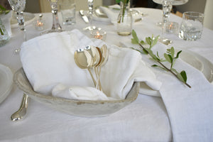 White Linen Napkins with Pure Linen Tablecloth