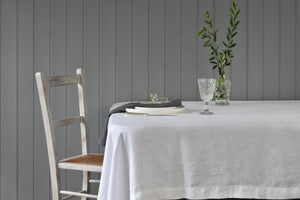 White Natural Linen Tablecloth with Grey Chair