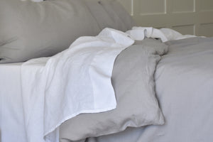 White Linen Flax Sheet on Light Grey Linen Duvet Cover