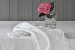 White Linen Napkin with Pink Flower